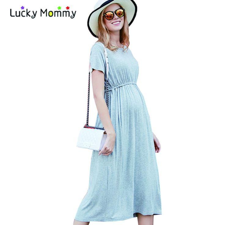 Плюс Размер Модальные Длинные Беременных Платья для Беременных Женщин Летние Свободные Случайные Беременности Платье Плюс Размер Материнства платье M-3XL