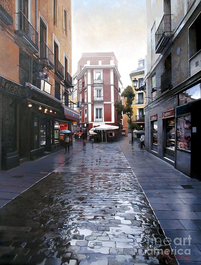 Fria Manana En La Calle De La Sal Painting Jose Higuera