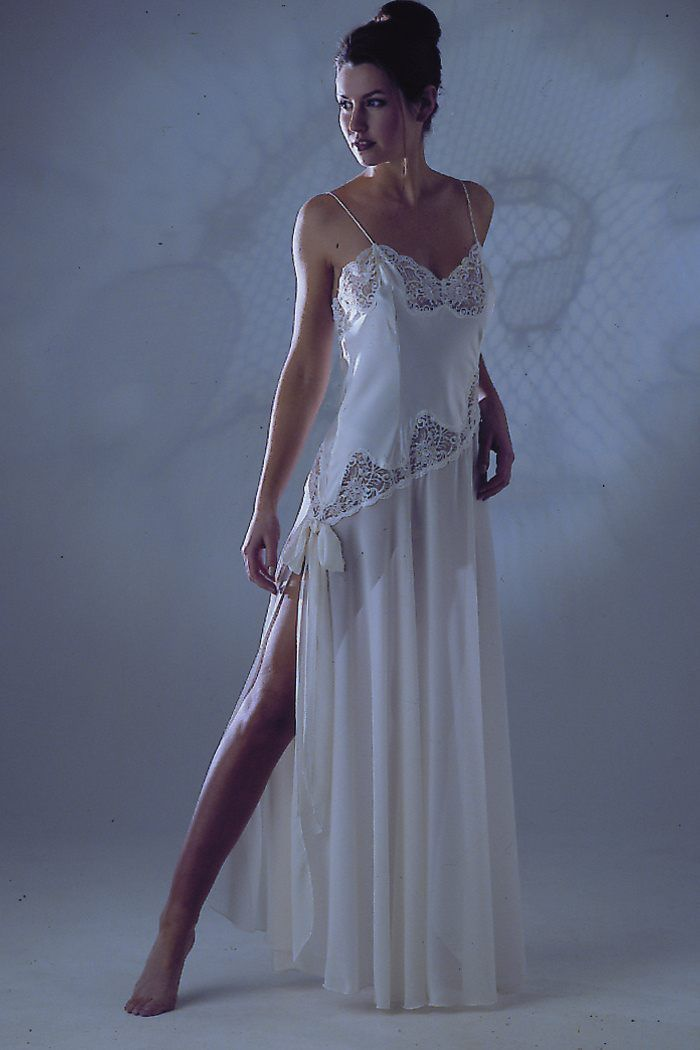 Long Satin & Chiffon Nightdress. A Jane Woolrich design which is made to measure for each customer.