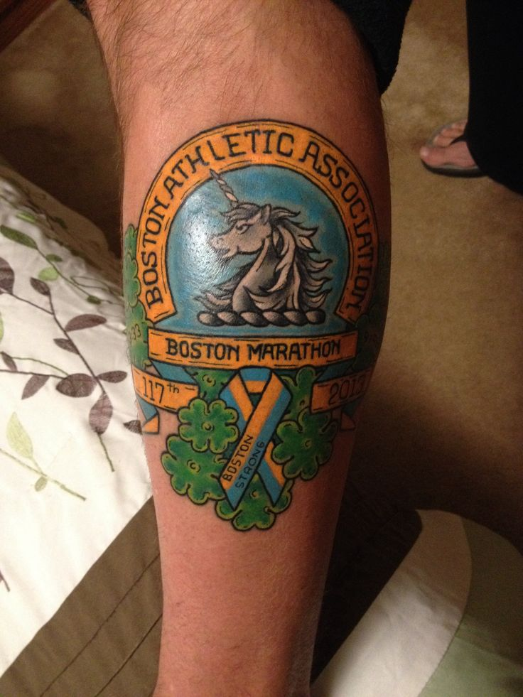 My Husbands tattoo representing the 2013 Boston Marathon ...