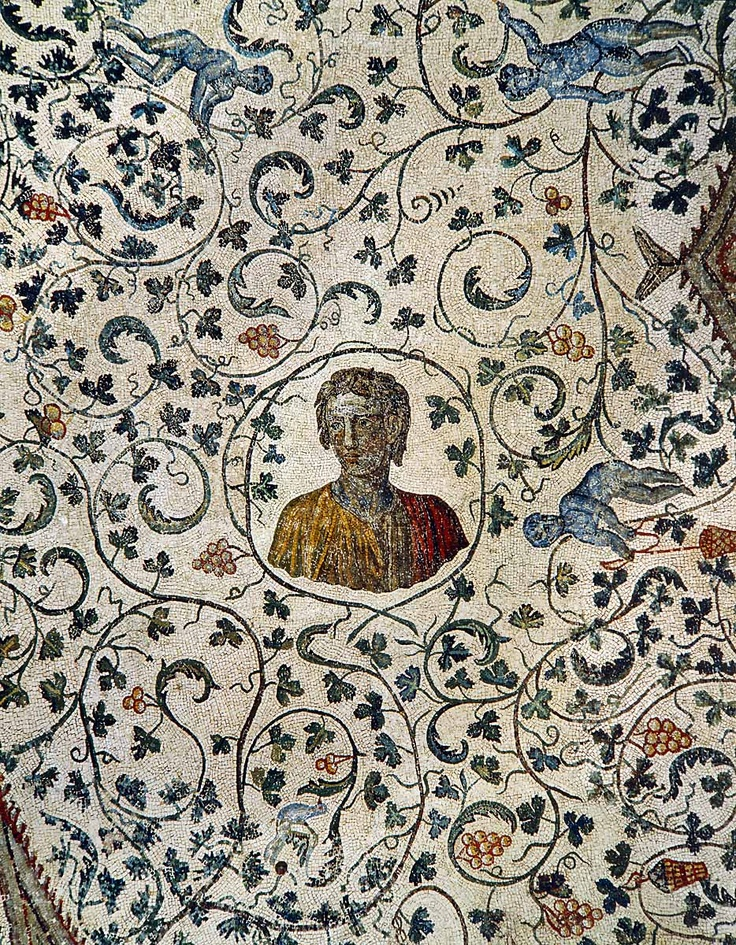 Portrait of Constanza, daughter of Emperor Constantine the Great (272-337), including grape harvesting putti. Roman mosaic from the ambulatory vault of Santa Constanza, the mausoleum of Constantine's daughter, Constanza; 4th century CE  Santa Constanza, Rome, Italy