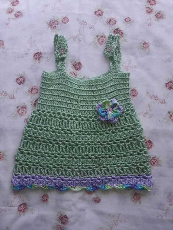 Crochet Baby Sundress 12-18 months / Baby Flower dress /