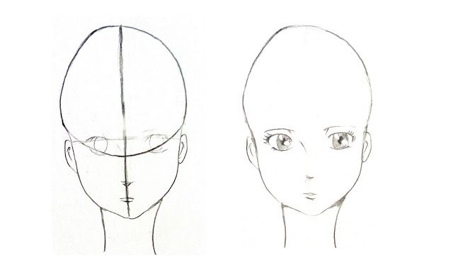 drawing manga head
