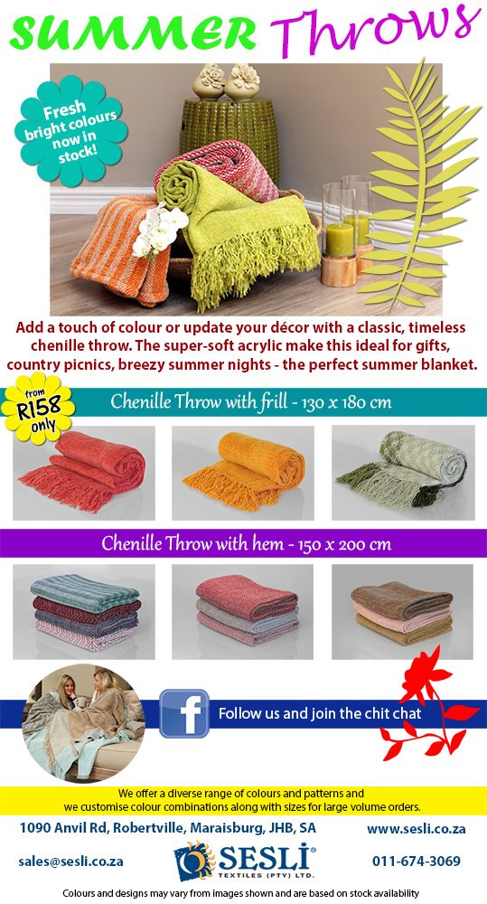 Colourise-Accessorise-Decorise! Have fun this summer with our Chenille throws. http://sesli.co.za/index.php/chenille-throws