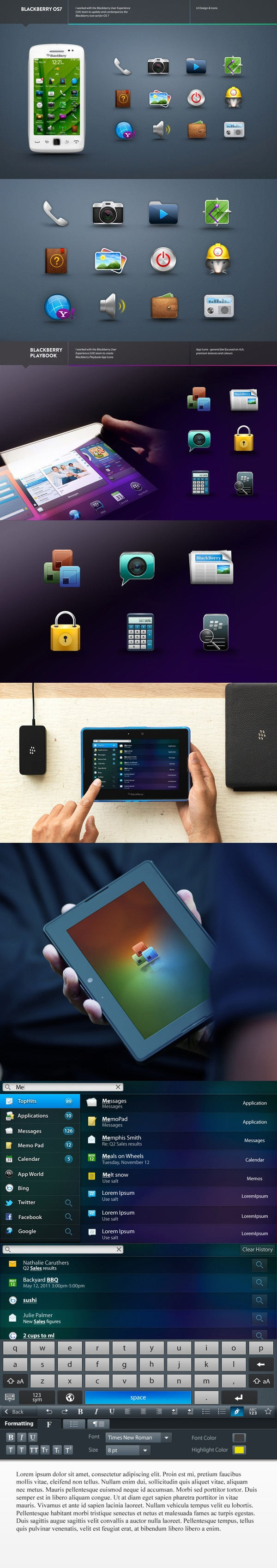 """+ BLACKBERRY by Yana Stepchenko, via Behance *** """" I collaborated with BlackBerry User Interface & Experience to update and contemporize the BlackBerry OS system. This project showcases the evolution and strengthening of visual & interaction systems within RIM`s contemporary BlackBerry portfolio as well as rethinking design and experience of BlackBerry applications and proposing new ideas. """""""