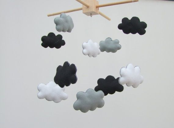 Black and white baby mobile Black & white mobile by FeltButtons