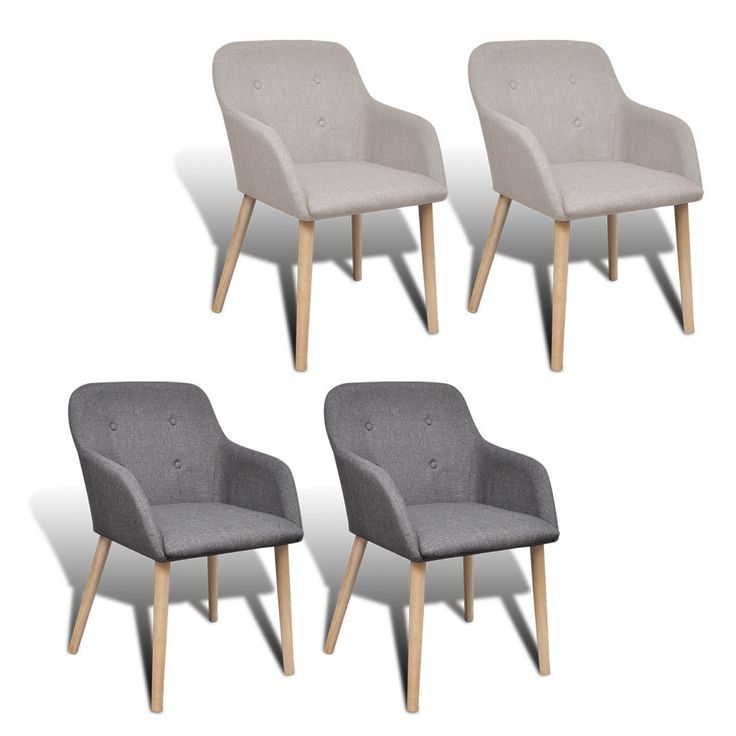 New Fabric Dining Chair Set With Oak Legs Foam Padded Stylish 2 Colours  2/4/6pcs