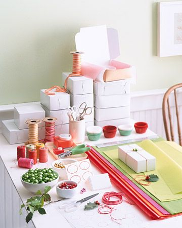 Ask guests to bring wrapping materials; you might also keep some on hand in case any are overlooked. Set everything out on large worktables. Consider stocking the station with tags or sticky labels, ribbons, twine, cardboard boxes, sturdy paper plates, baking papers, scissors, hole punches, tissue paper, cellophane, and other trimmings.