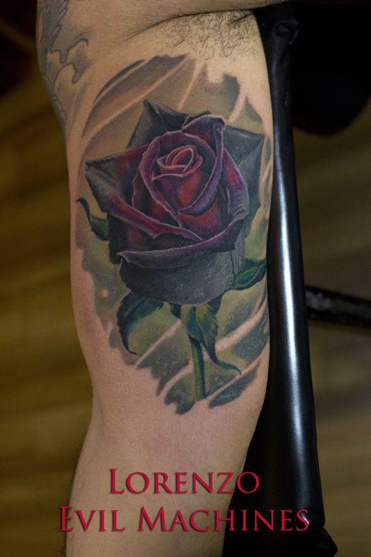 Rose - Rosa realistica a colori - Realistic Color Tattoo by Lorenzo Evil Machines - Roma - tatuaggi realistici e ritratti 3D animali www.evilmachinestattoo.com