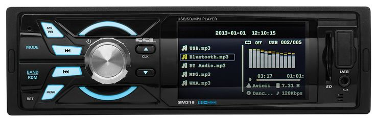 SOUND STORM SM316 Single-DIN 3.2 inch Screen MECH-LESS Multimedia Player (no CD or DVD), Receiver, Wireless Remote. 80 Watts x 4 Max Power, Balance/Fader/Bass/Treble and Preset built-in EQ. No CD or DVD Player, Plays USB/SD, MP3, WMA, FM/AM and Smart Phones. Compatible with Audio out from Smartphones and MP3 Players. USB, SD, Aux, Rear Camera, Inputs. Video, Front Pre Amp Outputs. Wireless Remote. 3 Year Platinum Dealer Warranty.