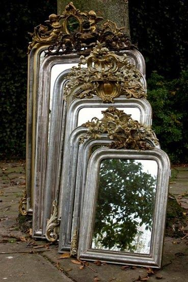 Antique French Mirrors SVM- would you love to come across a treasure trove of mirrors like this and buy them all?????
