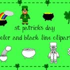 Free Holiday Clipart!Includes- Color and Black Line clipart images1 leprechaun (color and BW)1 four leafed clover (color and BW)1 pot of gold ...