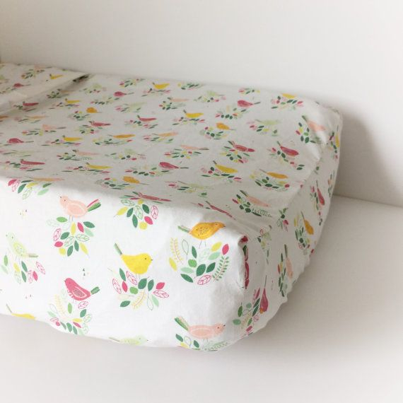 Fitted Crib Sheets / Bird Baby Bedding / Floral Baby Bedding /Contoured Changing Pad Cover /Mini Crib Sheets / Girl Cot Bedding