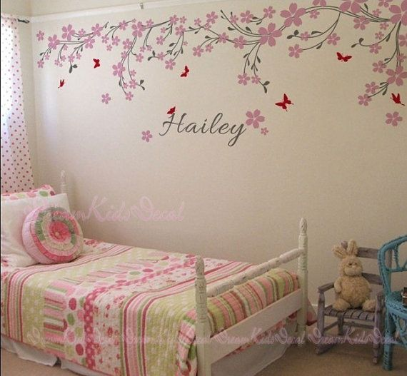Nursery wall decal baby girl and name wall by DreamKidsDecal