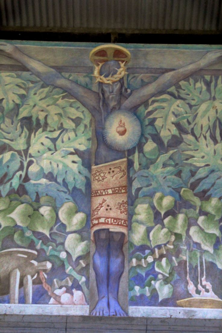 Black Christ detail. Jean Charlot's mural of the Black Christ in the Ra District of Fiji for some time now. On our way back from Nadi last week, we made it happen! Along King's Road in Naiserelagi village in Ra, there is a sign for St. Francis Xavier's Catholic Mission.
