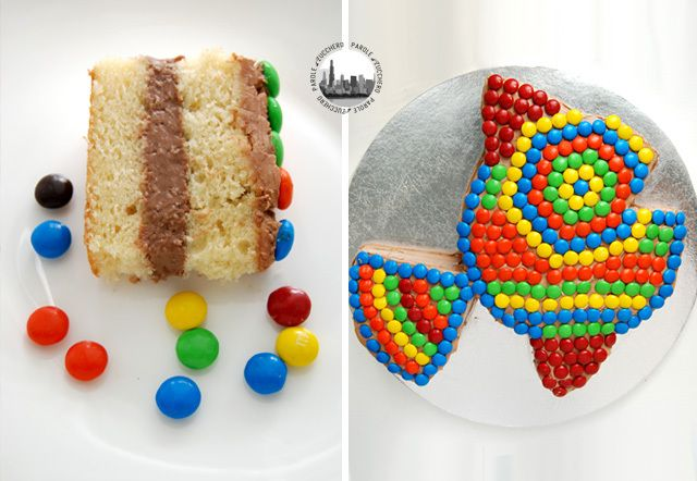 MMs decorated fish cake! Great for kids' parties!