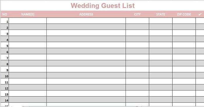 Wedding Guest Lists Excel Word Excel Fomats Wedding Guest List
