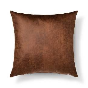 """• Leather-looking polyester<br>• 24""""x24""""<br><br>Get a more economical way to bring the luxe look of this accent pillow into your home. The Throw Pillow Faux Leather in Oversized Brown from Threshold is the perfect prop for your sore back after a long day."""