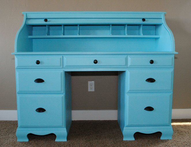 Refinished Desk in Turquoise