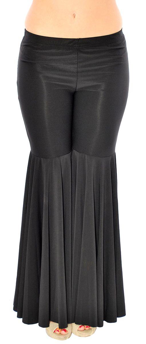 Mermaid Style Super Bell Bottom Fusion Dance Pants - BLACK