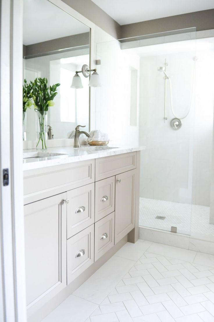 Visual eye candy how to tile a herringbone floor part i - Inspiring Remodel Bathroom Plus Bathroom Floor Tile Ideas Traditional Bathroom With Beige Walls And Herringbone