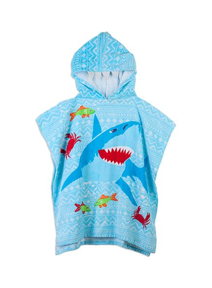 Easy to put on our wriggly baby after his swimming lessons  #DearPumpkinPatch  Pumpkin Patch - swimwear - hooded towel pullover - S4SW60002 - blue fish - osfa