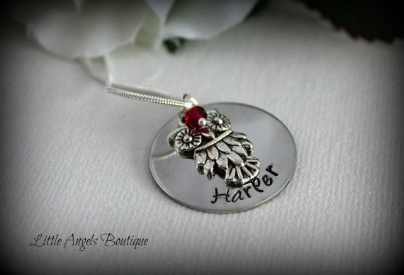 Owl Personalized Custom Hand Stamped by littleangelsboutique