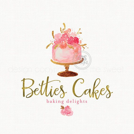 Premade Cake Logo Watercolor Logo Design by stylemesweetdesign