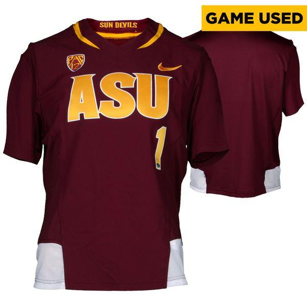 Arizona State Sun Devils Fanatics Authentic Game-Used Maroon ASU V-Neck #1 Softball Jersey used during the 2014-2015 Season - Size 2XL - $84.99