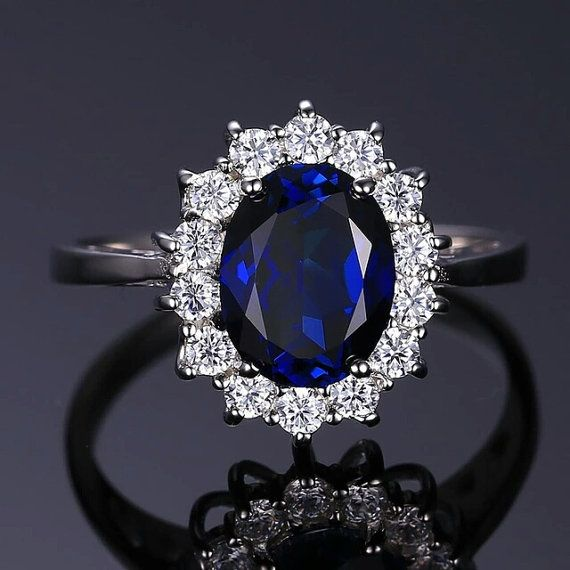 BEAUTIFUL Vintage Style Princess Kate // Diana Engagement Wedding Blue Sapphire Ring Solid Genuine 925 Sterling Silver - Brand New - FREE SHIPPING