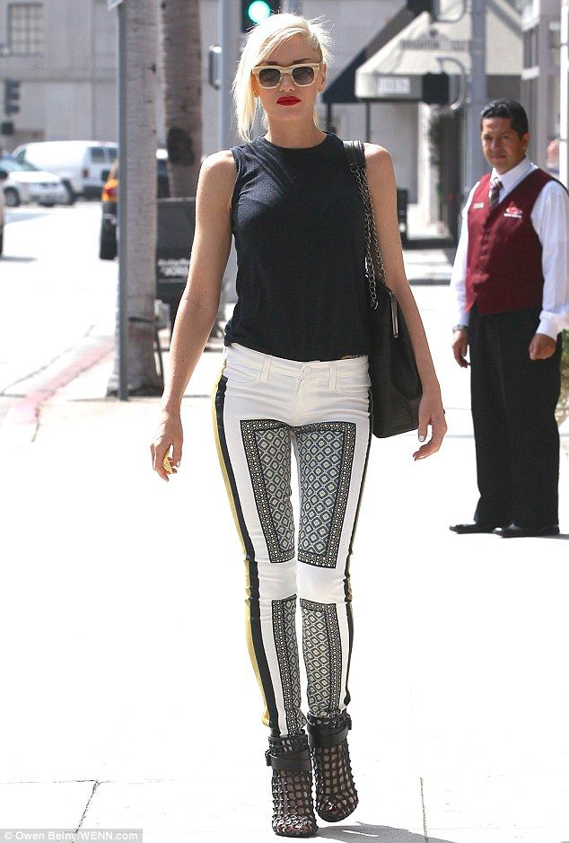 Punk chic: Gwen Stefani donned a pair of Paige pants, a black tank and Givenchy cage booties.
