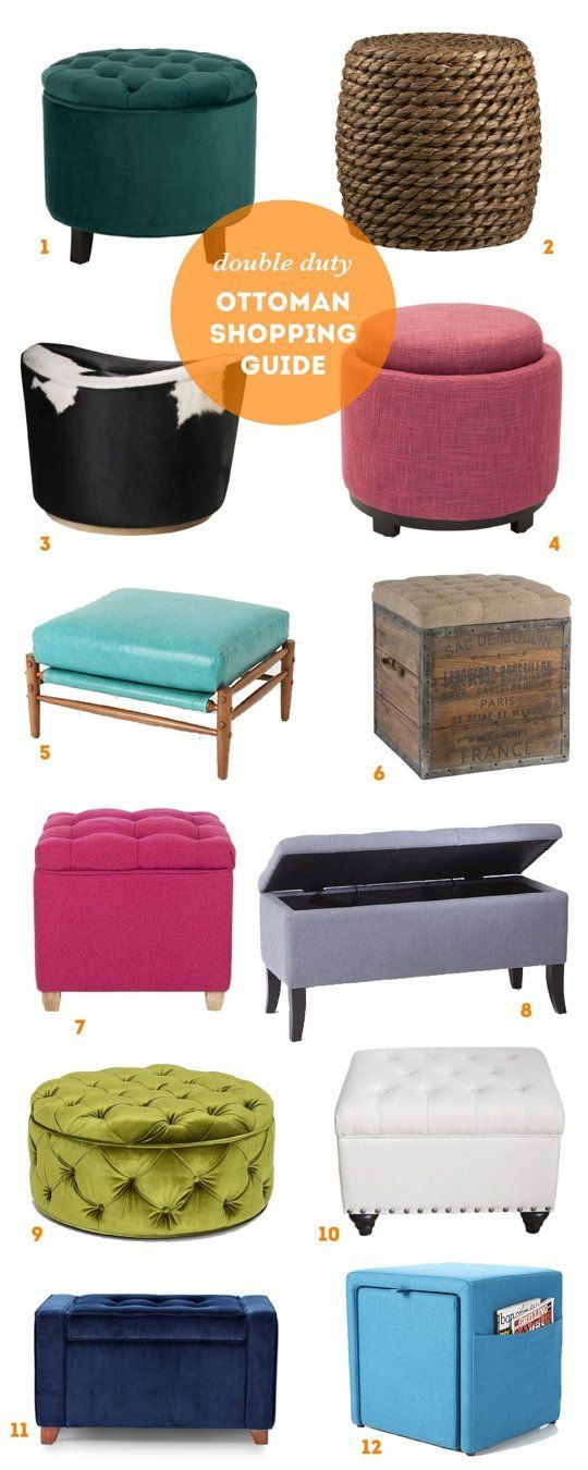 Small Space Living: Double Duty Ottoman Shopping Guide | Apartment Therapy  I need to sew that green tufted ottoman!