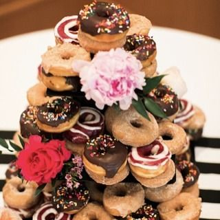 Donut tower instead of wedding cake