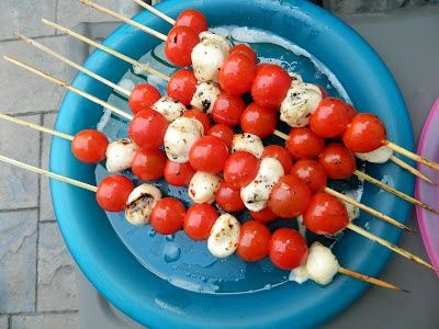A great appetizer for Canada Day: grilled tomato and mozzarella skewers.