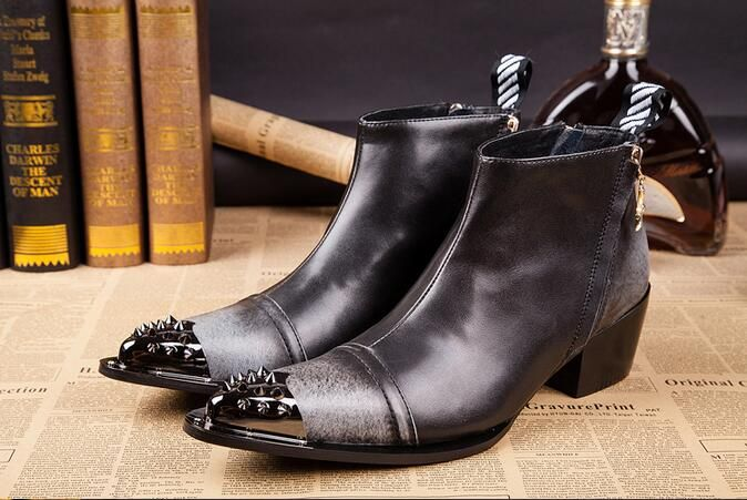 Hot 2017 High help high and short boots iron head men real leather British leisure hair stylist raises cow leather boots hipster