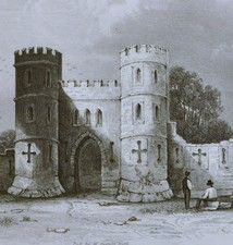 Antique print of Sham Castle, near Bath, Somerset.