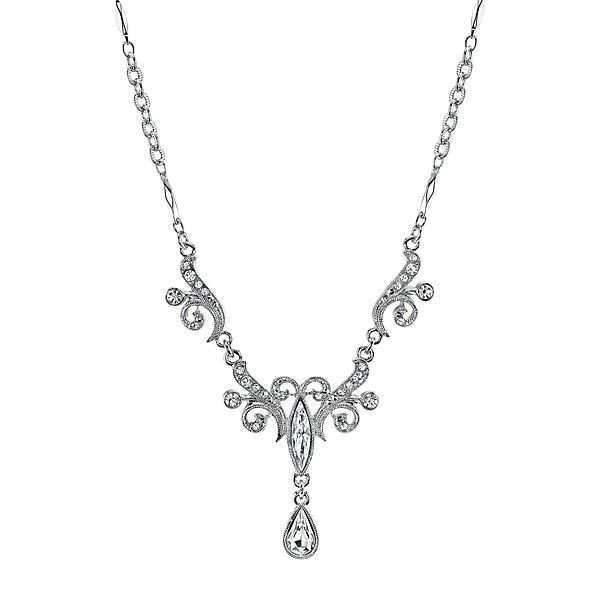Silver-Tone Crystal Teardrop Necklace