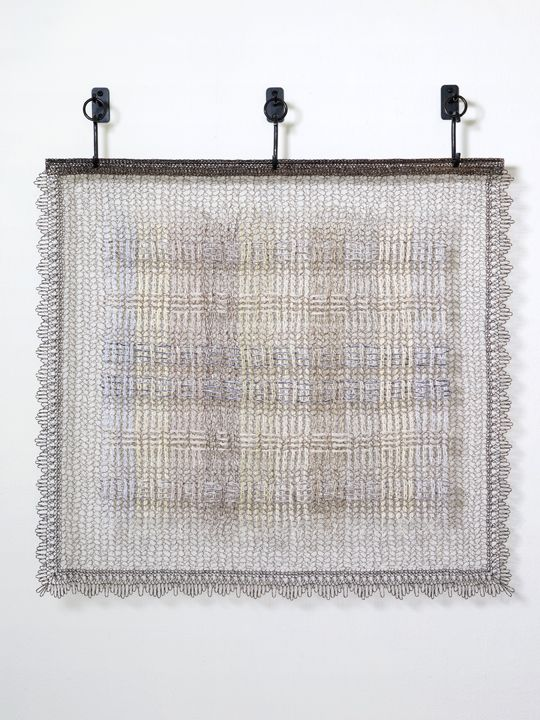Plaid, Madras, 2015  Crocheted steel, stainless, flax, cotton, paper thread and gimp, woven fabricated steel and patina