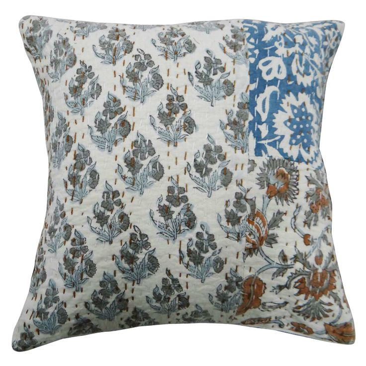 White color cotton fabric kantha stitch Cushion Cover / Pillow Case. ..this is img