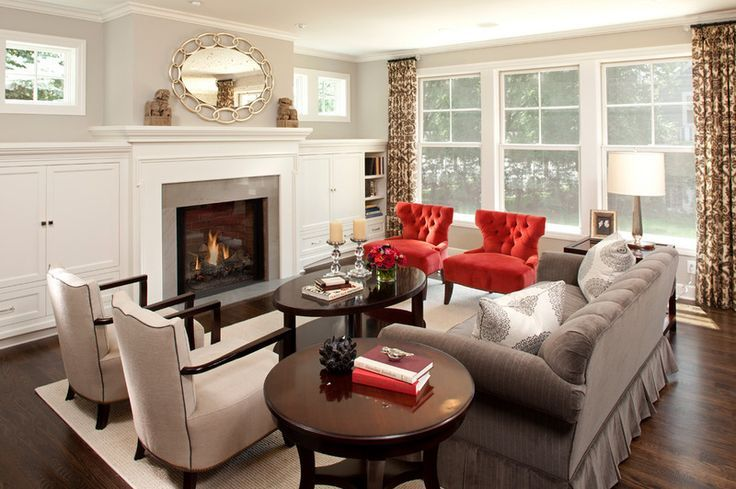 neutral living room with pop of red