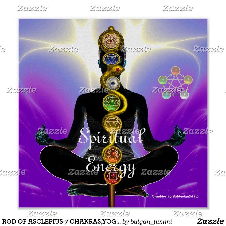 ROD OF ASCLEPIUS 7 CHAKRAS,YOGA LOTUS POSE Purple Poster #healer #meditation #health #chackra #artprints #prints