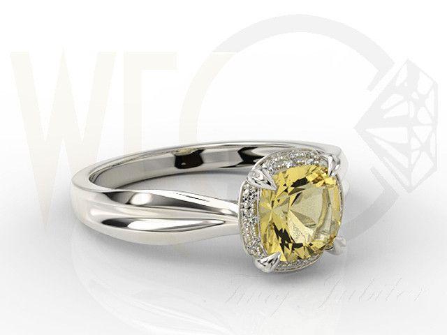 Pierścionek z białego złota z cytrynem i brylantami / Ring made from white gold with diamonds / 444 PLN #jewellery #jewelry #gold #ring #flower #diamonds