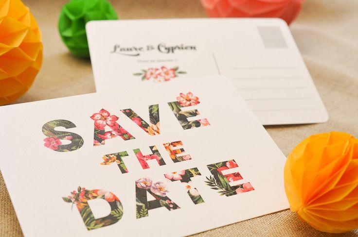 Save the Date Tropic, pour un mariage chic et exubérant. Les-Libellules.fr