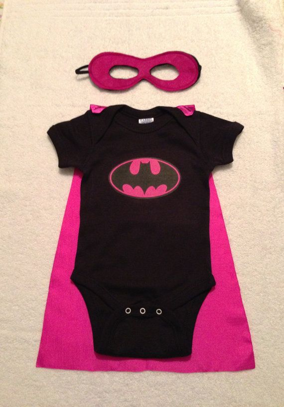 Batgirl Superhero Baby Onesie with Detachable Satin Cape and Reversible Mask, Apparel or Costume