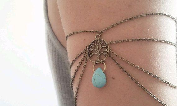 Armlet Slave Bracelet Upper Arm Bracelet Boho Upper Arm Cuff Chain Arm Band Tree Of Life Turquoise Bohemian Drape Arm Jewelry Tribal