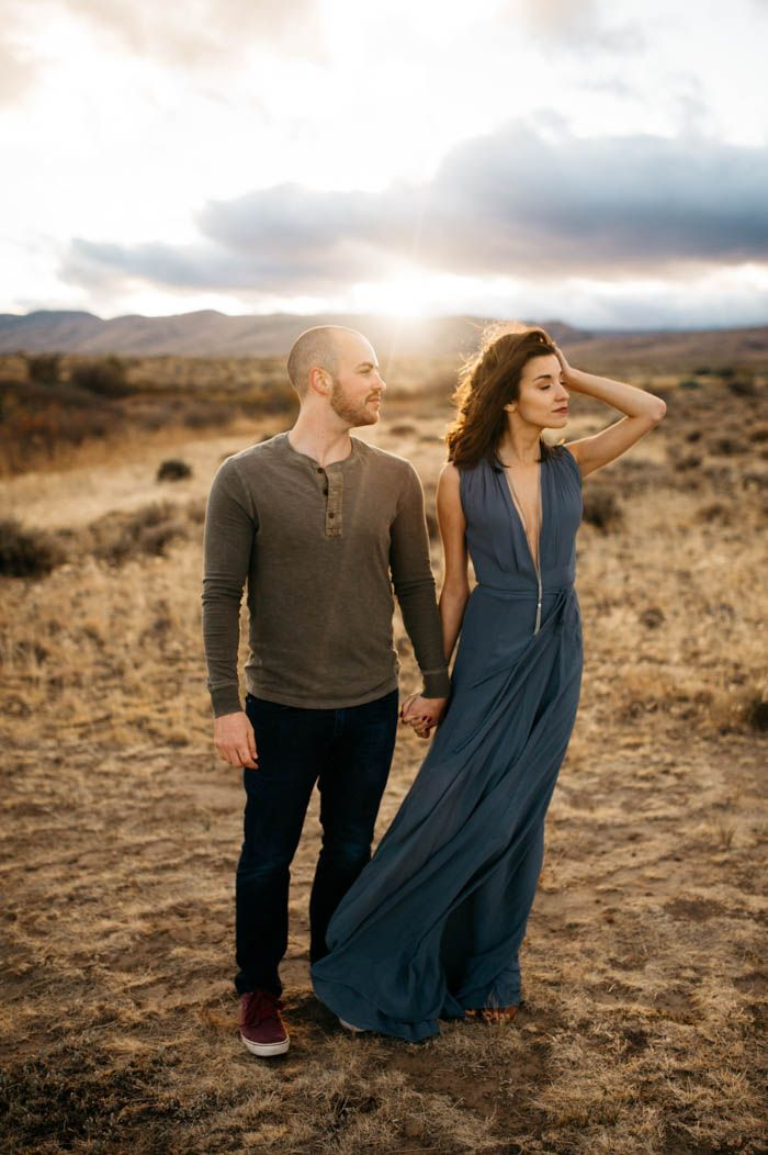 Engagement photo style inspo - that teal maxi dress | Image by Tonie Christine Photography