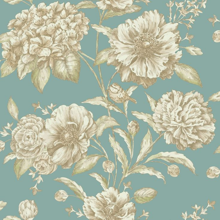 Jemima Floral Gold Effect & Teal Metallic Effect Wallpaper | Departments | DIY at B&Q