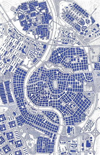 City map  I assume illustrator and autocad were used to create.  I love the simplicity of the grid and representation of the diagram. Clear and easy to read