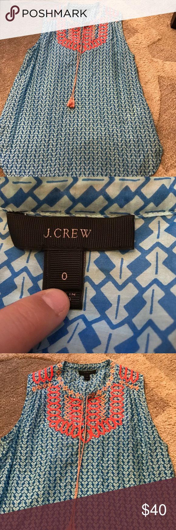 J. Crew Tribal Shirt Blue and light blue, pattern around neck. J. Crew Tops Tank Tops