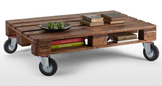 nice pallet table on wheels